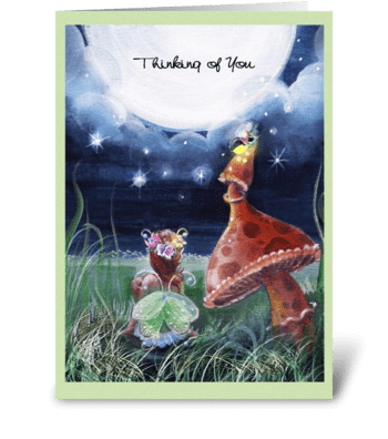 Thinking of you, faery and Mushroom greeting card