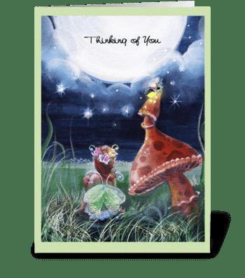 Thinking of you, faery and Mushroom greeting card