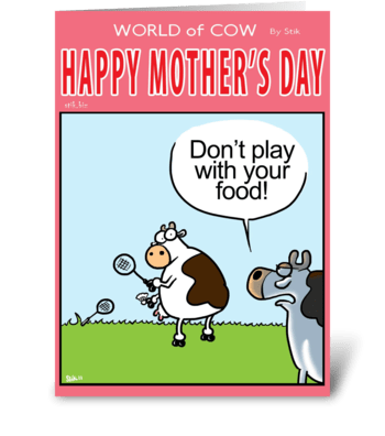 """Mother's Day """"Don't Play with your food"""" greeting card"""