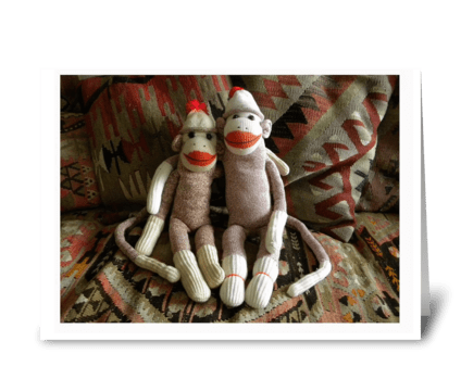 Sock Monkeys Photo greeting card