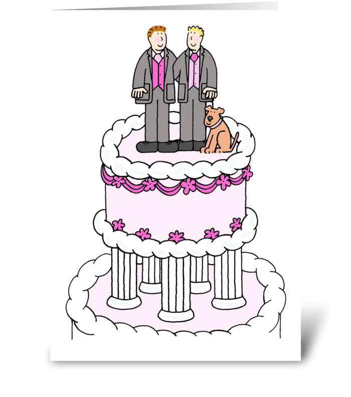Two grooms on top of a wedding cake. greeting card