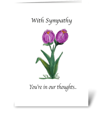 Watercolor Tulip Sympathy Greeting Card greeting card