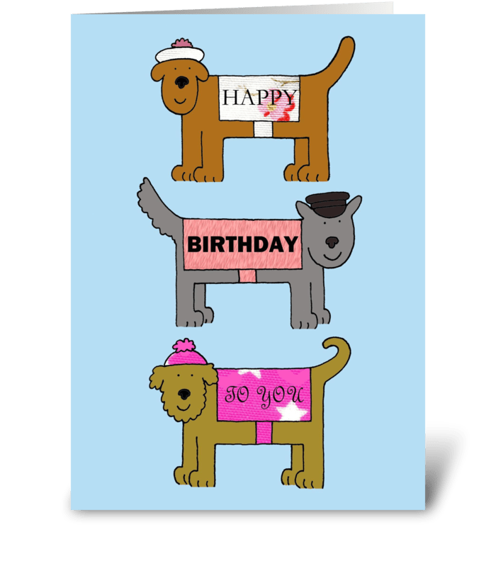 Dogs in coats and hats, Happy Birthday greeting card