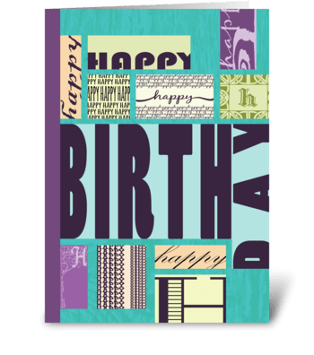 Blocks of Type - Happy Birthday  greeting card