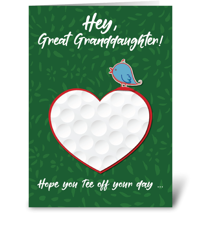Great Granddaughter Golf Sports Heart greeting card