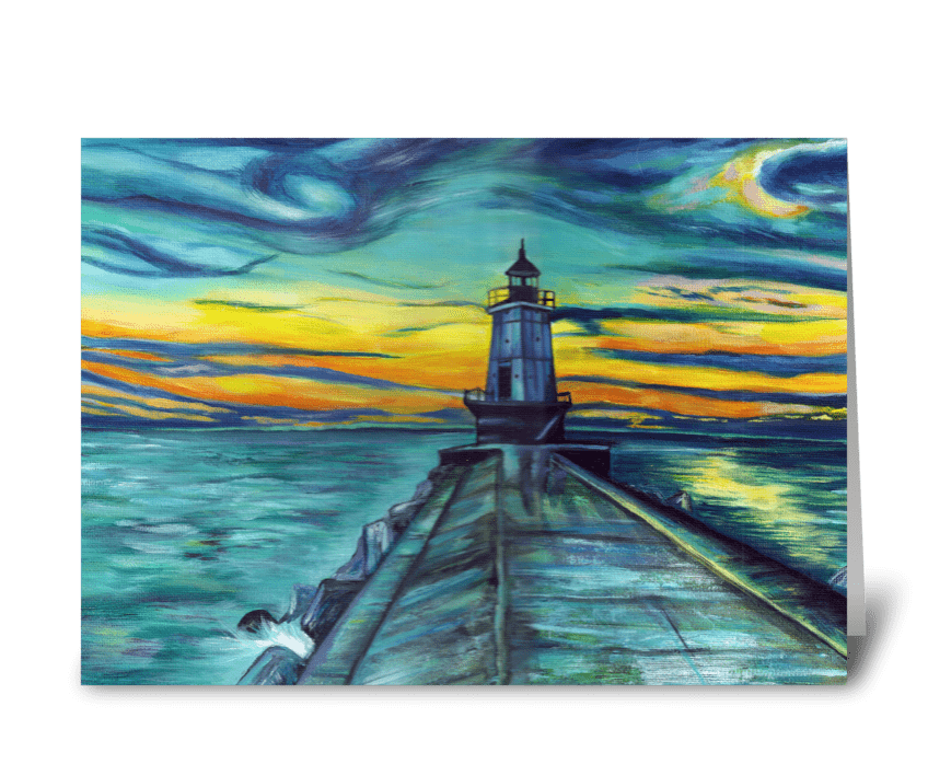 Michigan Lighthouse at Sunset greeting card