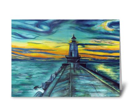 Michigan Lighthouse at Sunset greeting card
