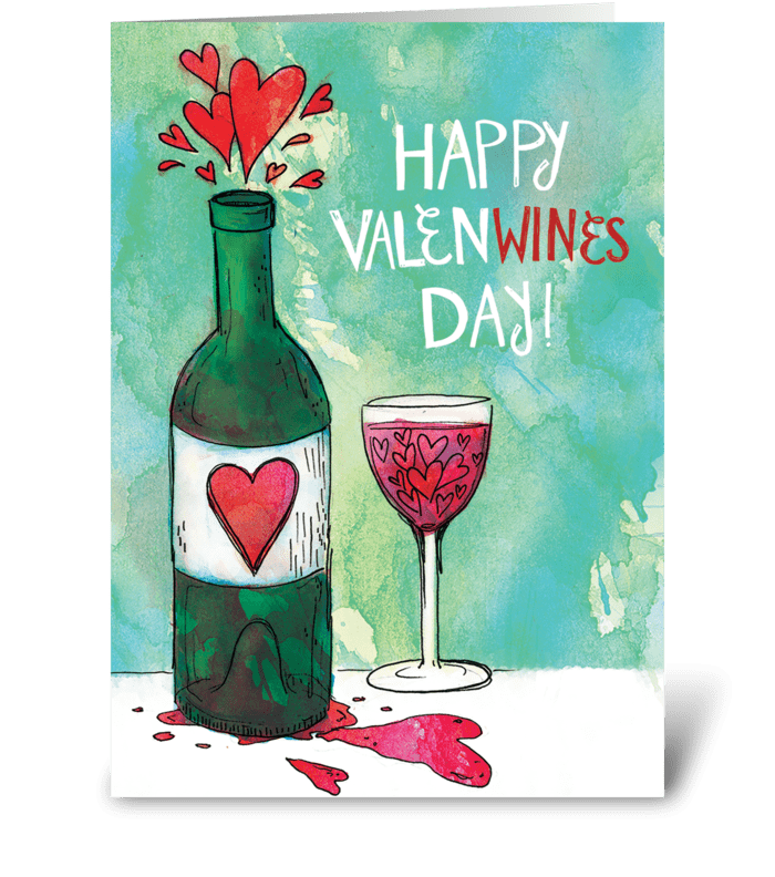 Happy ValenWines Day! greeting card