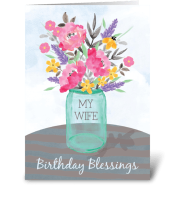 Wife Birthday Blessings Jar Vase with Fl greeting card