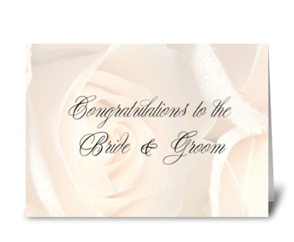 Soft Roses Wedding Congratulations greeting card