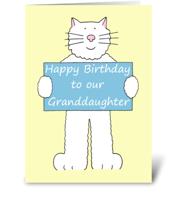 Happy Birthday Granddaughter cute cat. greeting card
