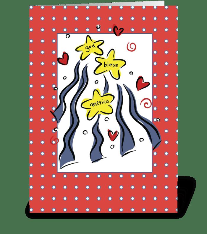 3307 July 4, God Bless America greeting card