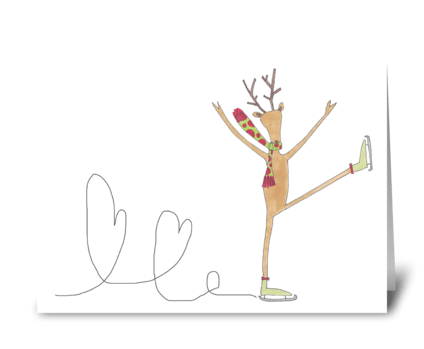 reindeer ice skater greeting card