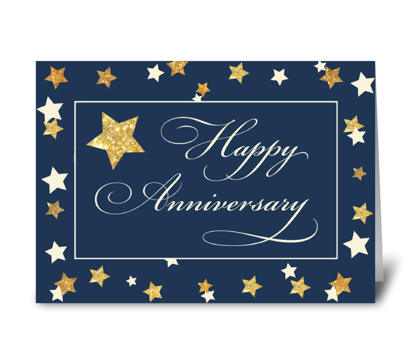 Employee Anniversary Navy Gold Effect greeting card