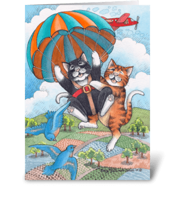 Skydiving Cats Happy Birthday #57 greeting card