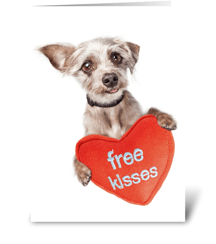 Cute Dog Free Kisses Card greeting card