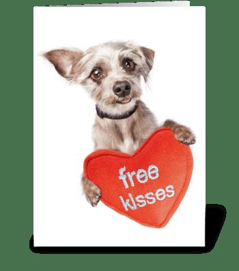 Cute Dog Free Kisses Card greeting card