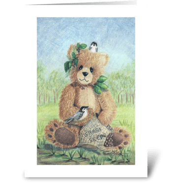 Spring Teddy Bear greeting card