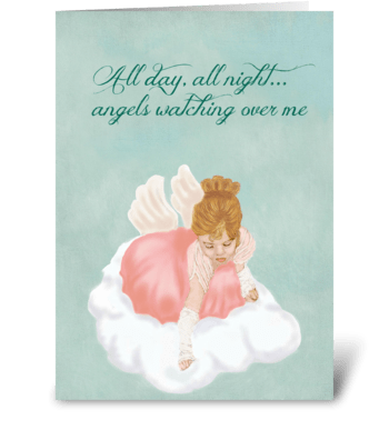 Angels Watching Over Me greeting card
