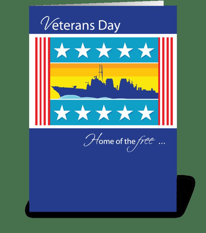 Veterans Day Patriotic Naval Ship greeting card