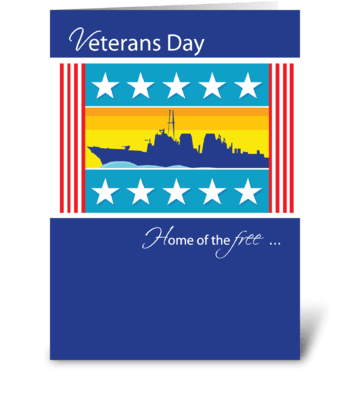 Veterans Day Patriotic Naval Ship greeting card
