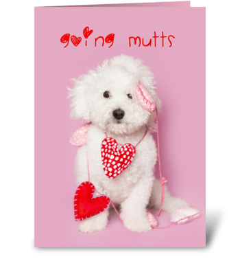 Going Mutts About You Puppy Valentine greeting card