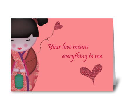 Little Geisha Love greeting card