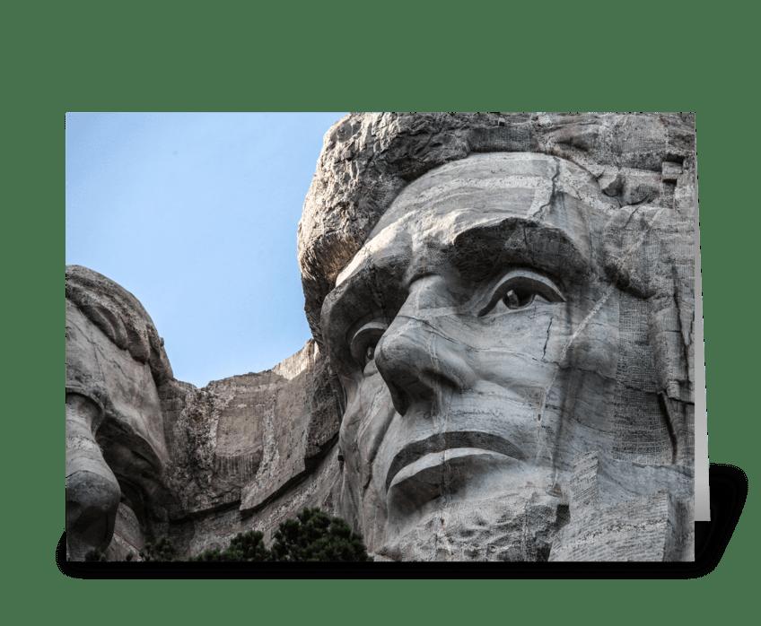 Abraham Lincoln at Mount Rushmore greeting card