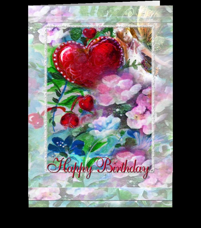 Garden Faery, Hearts & Flowers greeting card