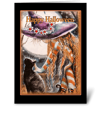Nice Little Witch and Kitty greeting card