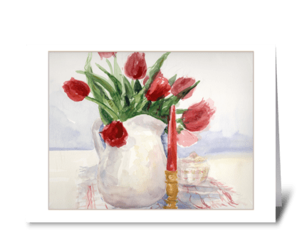 Tulips in Vase greeting card