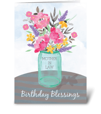 Mother-in-Law Birthday Blessings Vase greeting card