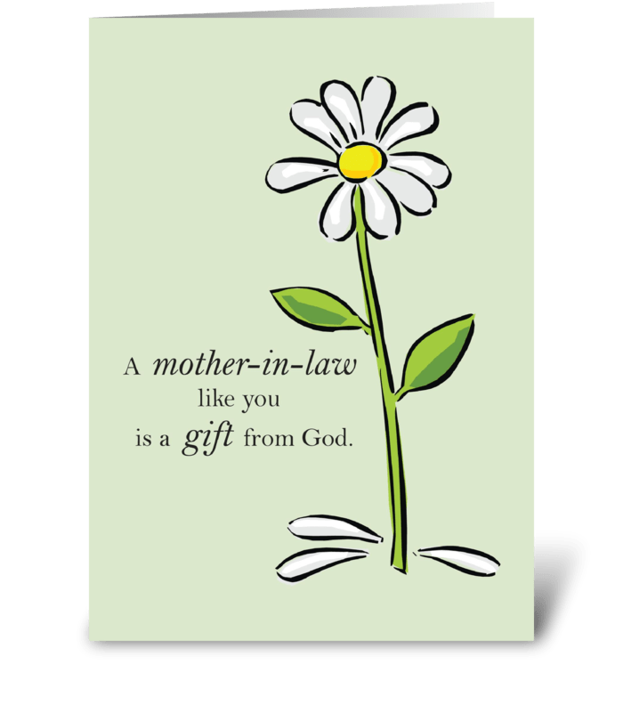 Mother-in-Law Day Religious Green Daisy greeting card