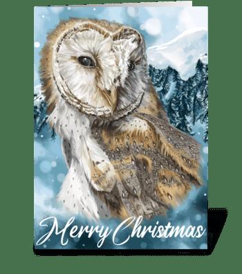 Barn Owl Christmas greeting card