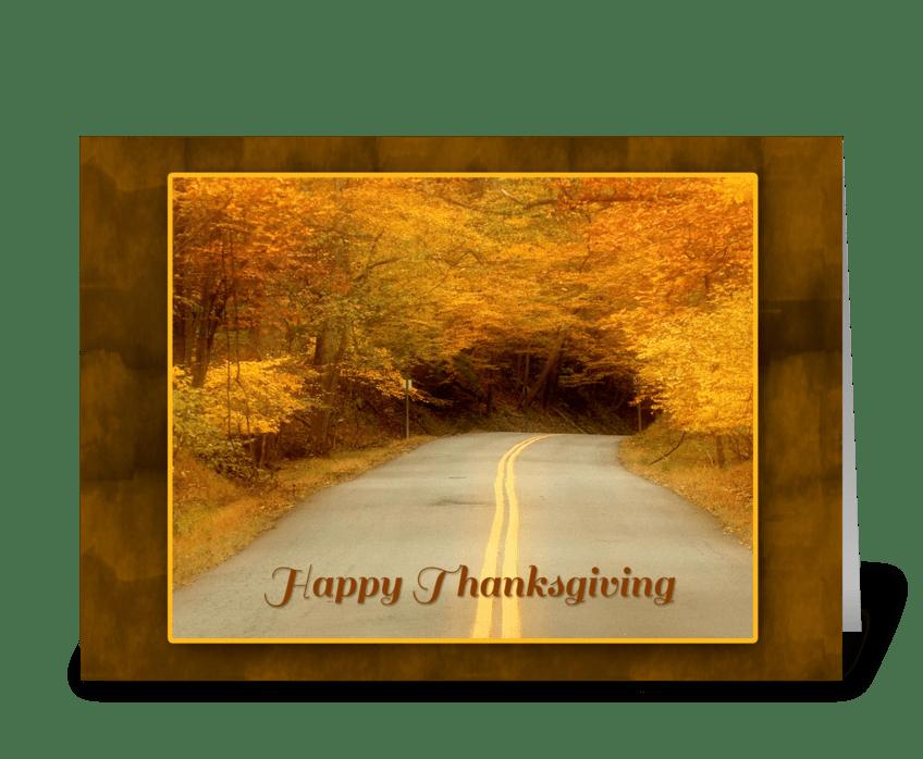 Autumn Road, Thanksgiving greeting card