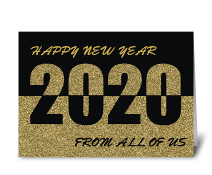 From All of Us Happy New Year 2020, Gold greeting card
