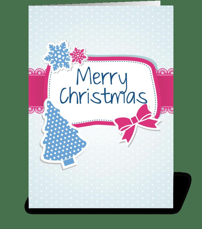 Blue Christmas card greeting card