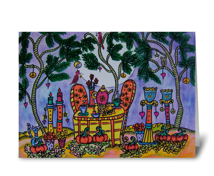Autumn NIght Tea Party greeting card