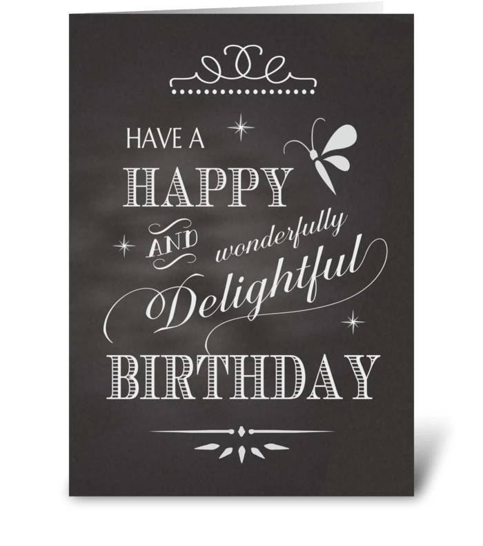 Birthday Chalkboard - Happy Wonderfully  greeting card