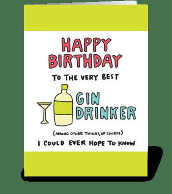 Happy Birthday Gin Drinker greeting card