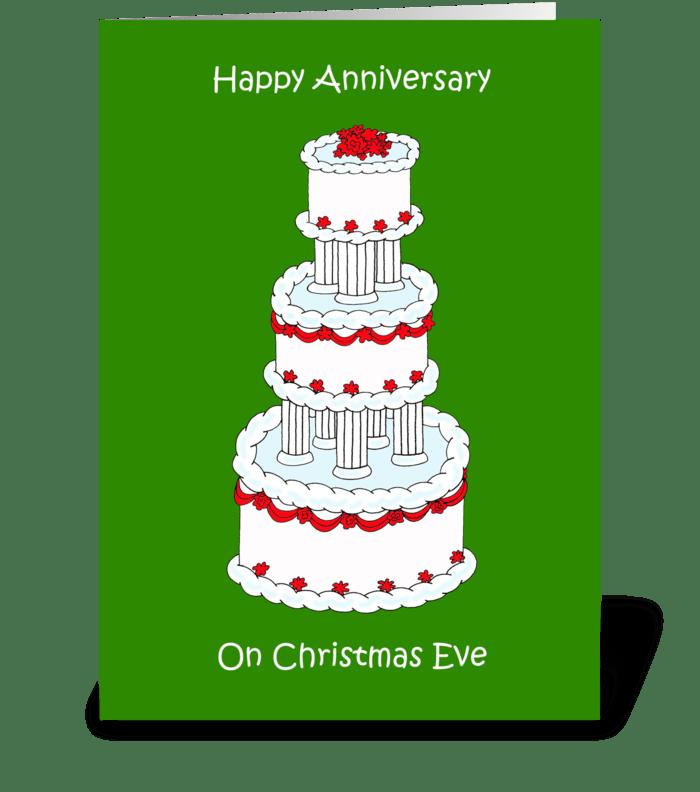 Christmas Eve wedding anniversary. greeting card
