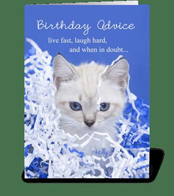 Birthday Advice Kitten greeting card