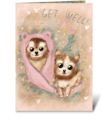 Cute fluffy puppies. greeting card