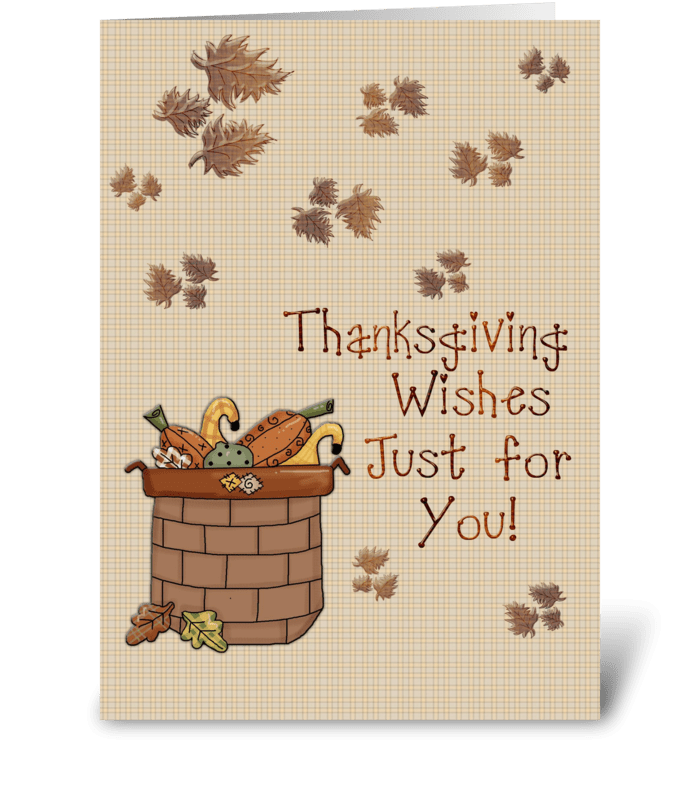 Basket of Pumpkins, Thanksgiving greeting card