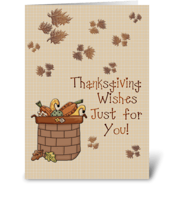 Basket of Pumpkins, Thanksgiving greeting card