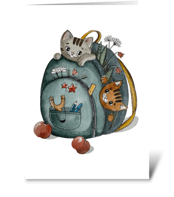 Cute kittens in the backpack greeting card