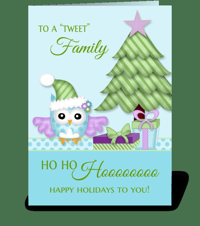 To 'Tweet Friend Happy Holiday Owl w/tre greeting card