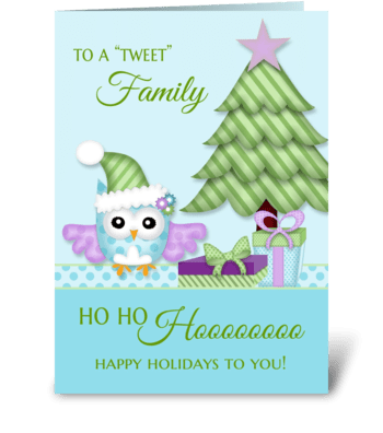 To 'Tweet Friend Happy Holiday Owl w/tre greeting card