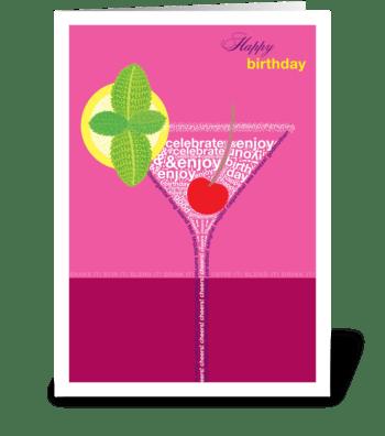Birthday Cocktail Pink greeting card