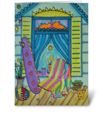 Beach Girl's Front Porch greeting card